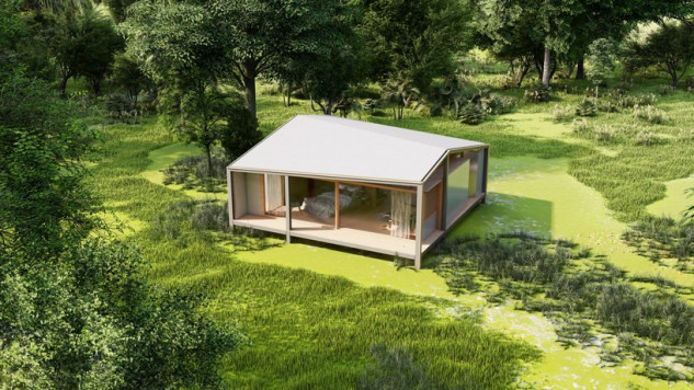 Casa pré-fabricada de madeira e materiais reciclados para viver a plena natureza em Bali